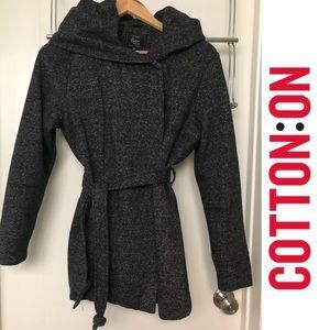 Hooded peacoat, heather grey, size M